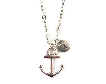 ANCHOR charm necklace, personalized charm necklace, initial necklace, anchor jewelry, personalized jewelry, charm neckalce, initial jewelry
