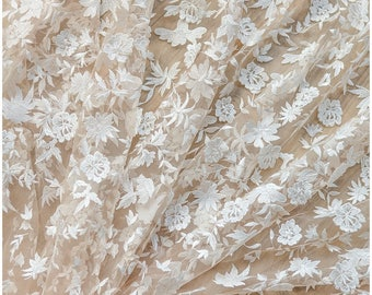 3D Flower lace on NUDE Mesh/ Tulle, Skintone Mesh with Off-white embroidered Flowers, wedding dress lace, (L17-070)
