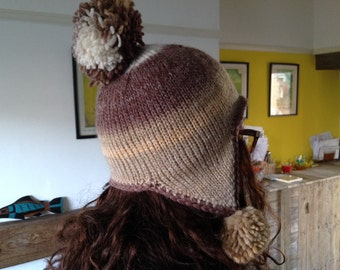 Natural Chullo Earflap Stripy Hat