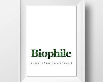 Biophile Print - Nature Wall Decor - Definition Wall Art - Nature Lover - Nature Lover Art - Nature Lover Gift - Nature Decor