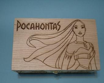 Pocahontas Etched wood trinket Box