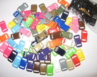 """100 3/8"""" curved side release buckles 20 black & 80 colored for paracord bracelets"""