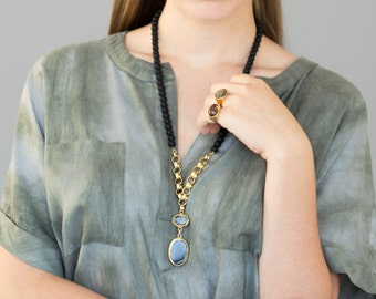 Statement Gemstone Beaded Gold Necklace, gold gem necklace, gemstone pendant, pendant necklace, gem pendant, long pendant necklace