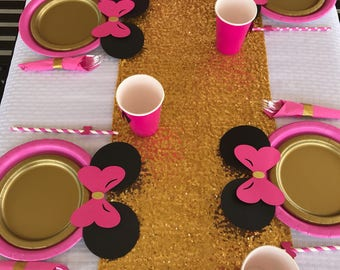 10 Hot Pink Gold Minnie Mouse Birthday Table set plates straws cups 3d red Mickey & 10 Light Pink Black Gold Minnie Mouse Birthday Table set