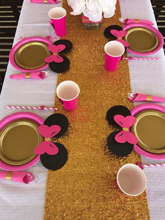 Like this item? & 10 Hot Pink Gold Minnie Mouse Birthday Table set plates straws