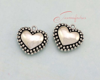 5PCS--24x22mm ,Heart Charms, Antique Tibetan silver 3D heart charm pendants , DIY supplies,Jewelry Making JAS4489D