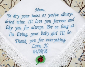 Personalized wedding embroidered handkerchief for mother of the bride, mother of the groom