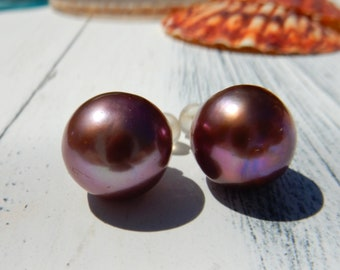 Big Pearl Studs | Post Earrings | Eggplant | Purple | 18kt Gold | Gift | Ready to Ship