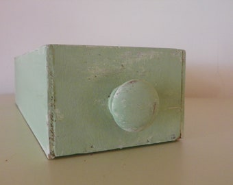 Shabby chic chalk-painted vintage drawer/green vintage wood drawer/OOAK home decor