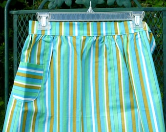 Vintage Waist Apron Large Homemade Adult One Pocket blue green and gold