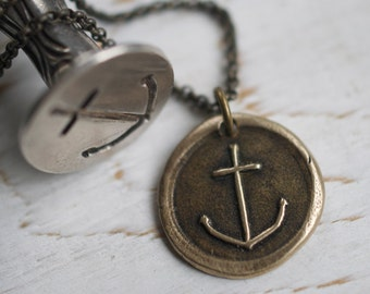 bronze anchor pendant - anchor wax seal necklace …  hope and stability - bronze nautical antique wax seal jewelry