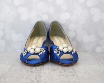 Wedding Shoes, Blue Wedding Shoes, Blue Bridal Shoes, Something Blue, Something Blue Shoes, Simple Wedding Shoes, Kitten Heel, Wide Width