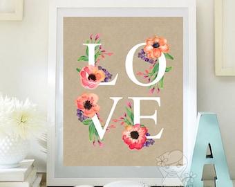 Nursery love art decor Love Quote print love digital art Love print Inspirational Quote Printable Art Love Home Decor ID115-116
