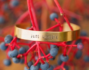 Custom Gold Cuff Bracelet/ Gold Bracelet/ Quote Jewelry/ Mantra Bracelet/ Yoga Jewelry/ Gift for Her/ Handmade in USA