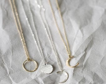 Lunar Phase Necklaces, Delicate Moon Necklace Gift for Sister, Gifts for Friends • Crescent Moon, New Moon, Full Moon • Gift Ideas, LN116