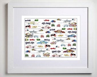 boy nursery art, car nursery decor, car art, cars print, baby boy decor, racing car, baby boy art, nursery decor, baby boy nursery wall art