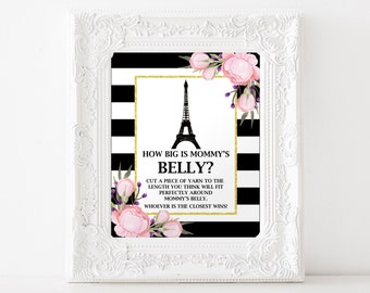 Belly Guessing Game, How Big Is Mommy's Bell Game?, Paris Baby Shower Games, Girl Baby Shower, Item 262