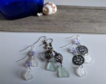Beach Glass Charm Earrings
