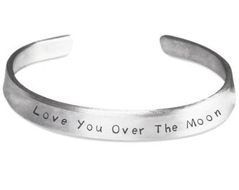 Love You Over The Moon Bracelet Stamped 1100 Pure Aluminum Adult One Size Fits All Adjustable Jewelry Friendship Relationship Marriage Gift
