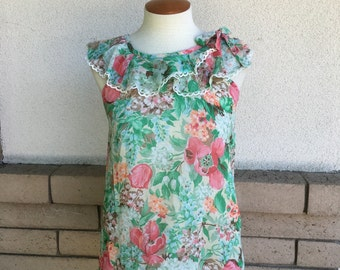 70s Floral Ruffled Tent Top Sleeveless Blouse Size XS