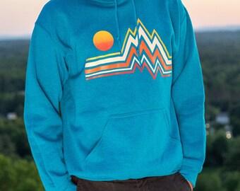 Mountain Range - Hand-Printed Hooded Sweatshirt gsV64