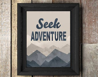 Seek Adventure,watercolor,Navy,tan,Grey,nursery decor,wildlife,nature,mountains,adventure,quote,nursery,gift for baby,nursery art, Mountains