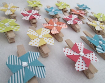 Pinwheels on Clips for Bag Toppers Set of 18 for Pinwheel Favor Bag Wood Clips Birthday Party Favors Baby Shower Bridal Shower Wedding Favor