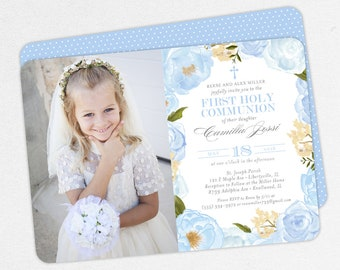 Photo First Communion Invitations, Blue First Communion Invitations, Floral First Communion invitations, Girl First Communion Invitations