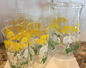 Vintage Glass Pitcher and Five Glasses Tumblers