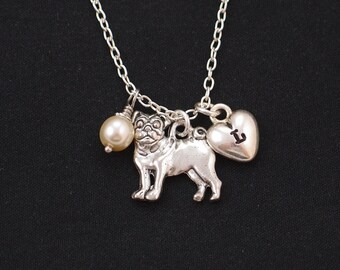 Pug necklace, sterling silver filled, initial necklace, Swarovski pearl choice, silver pug dog charm on silver chain, dog lover, dog memory