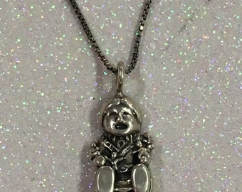 Native American Stamped Sterling Silver Story Teller Pendant Necklace