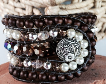 Handmade Beaded Cuff Bracelet, crystal,silver and brown cuff bracelet, leather wrap bracelet