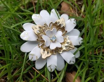 Distressed White Enamel Flower Brooch Gold Tone and White Metal Flower Pin Gold and White Brooch Enamel Broach Gold Flower Sash Pin FB69