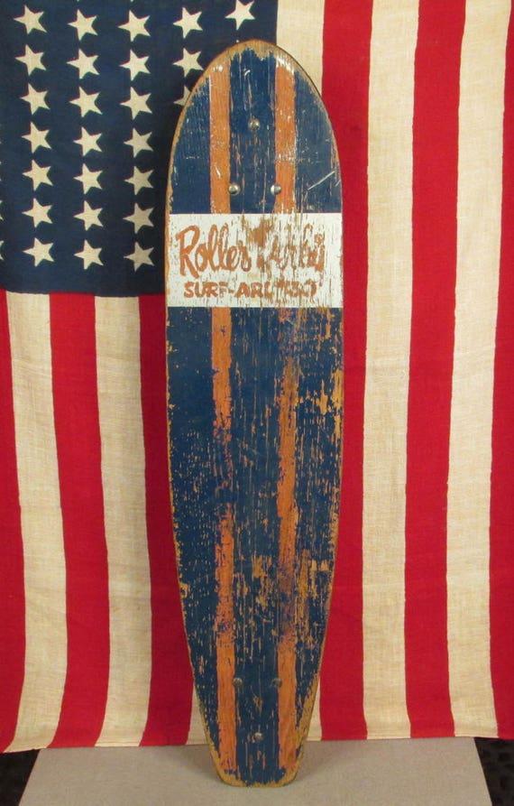 Vintage 1960s Roller Derby Wood Surf Around Skateboard