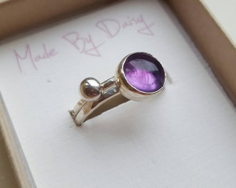 Stacking rings- amethyst ring- stackable rings- set of rings- gift for her- February birthstone