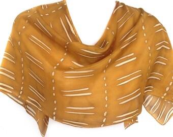 Silk scarf silk Gold scarf Silk scarf gold Hand painted silk scarf Handpainted scarf Habotai scarf Designer scarf Unique handmade scarf
