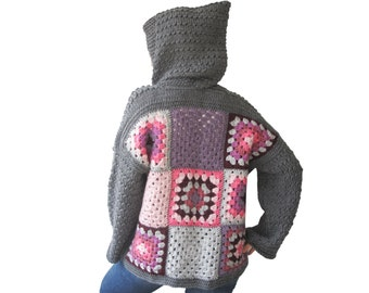 Patchwork Jacket, Granny Square Jacket, Afghan Cardigan, Knitwear, Coat, Overcoat, Gray, Pink