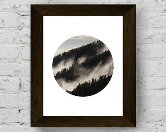 forest photography poster, mountain wall art print, geometric circle, nature print art, instant digital download, printable artwork