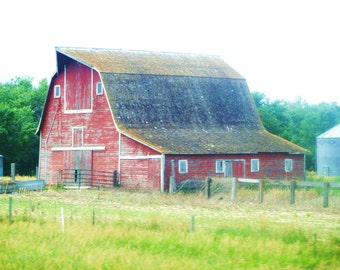 Red-Photograph of an Old Barn in the Countryside