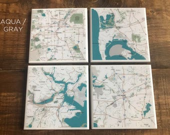 Custom Map Coasters - Pick Your Locations (9 Style Options) - Resin Coated