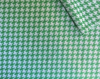 Vintage Fabric 70's Polyester, Green, White, Houndstooth, Material, Textiles