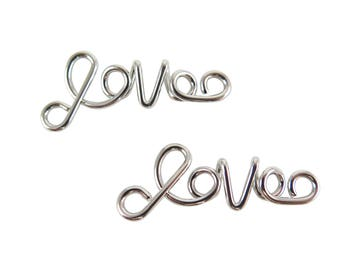 "Rhodium Plated  ""Love"" Wire Pendants (1x) (K618-B)"