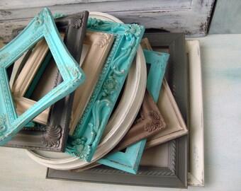 Coastal Vintage Picture Frames, Aqua, Gray, Set of 10 Painted Vintage Frames, MADE to ORDER Cottage Chic Frame Gallery, Ornate Frames