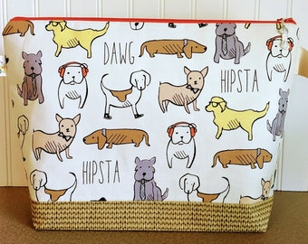 Hipsta Dogs Large Knitting Project Bag