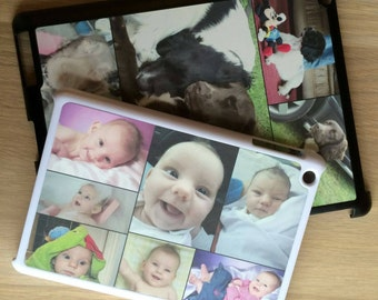 Clip on ipad and ipad mini cases in black and white. Personalised with photo logo collage or text.