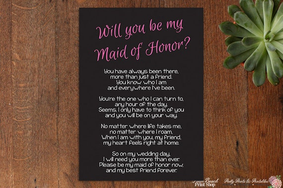 will you be my of honor poem wedding printable