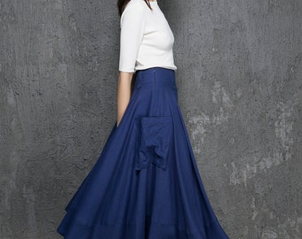 midi skirt women, blue linen skirt, womens skirt, A line skirt, skirt with pockets, custom skirt, summer skirt, gift for her (1332)