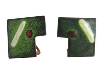 Vintage Mid Century Copper & Enamel Screw Back Earrings