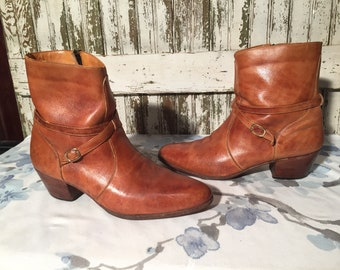 Vintage 70's Buckle Zip Up Hipster Ankle Boots