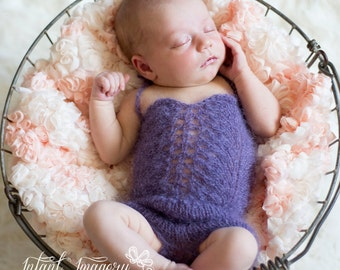 Newborn Photo Prop Romper Knit Pattern - Knit Onesie Pattern - Baby Romper Knit Pattern - Baby Girl Onesie Knitting Pattern